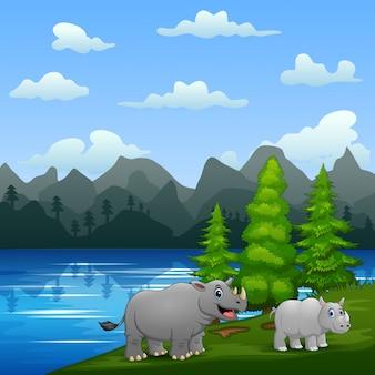 Un grande rinoceronte con il suo cucciolo che gioca vicino al fiume