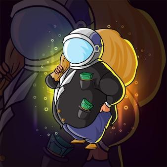 Il grande capo ricco con il sacco di soldi e usando il casco dell'astronauta dell'illustrazione