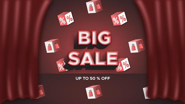 Sfondo di grande vendita ed effetto di testo con segno di percentuale