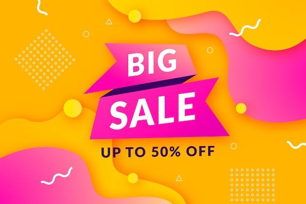 Grande fondo di vendita con il modello dorato e rosa di memphis Vettore Premium