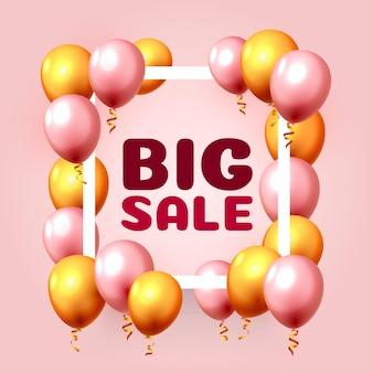 Grande vendita cornice mercato palloncino sullo sfondo rosa. illustrazione vettoriale