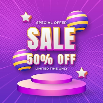 Banner di grande vendita e offerta di sfondo con effetti di testo modificabili