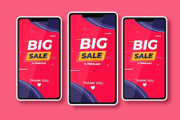 Banner di grande vendita sul telefono