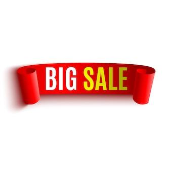 Banner di grande vendita. fiocco rosso