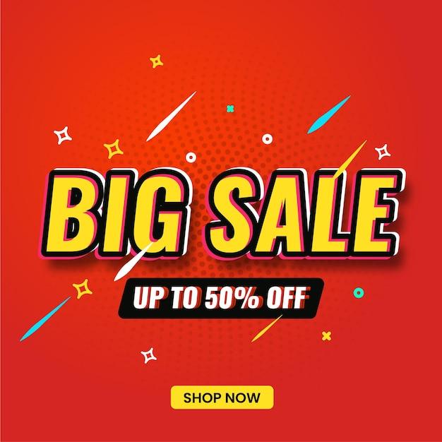 Banner di grande vendita per la vendita e la promozione