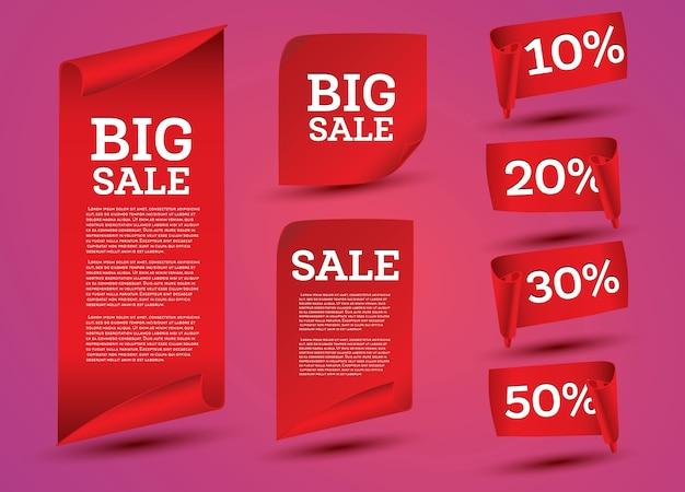 Set di banner di grande vendita. nastro.