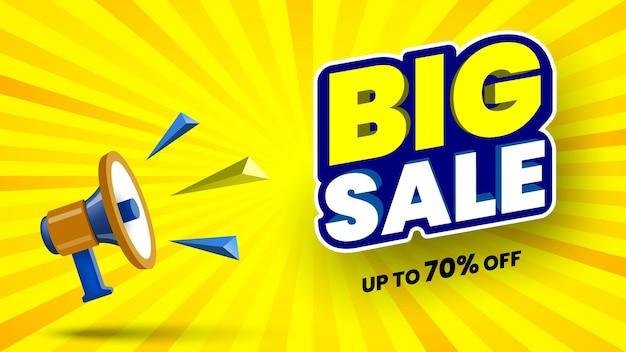 Banner di grande vendita con illustrazione vettoriale megafono