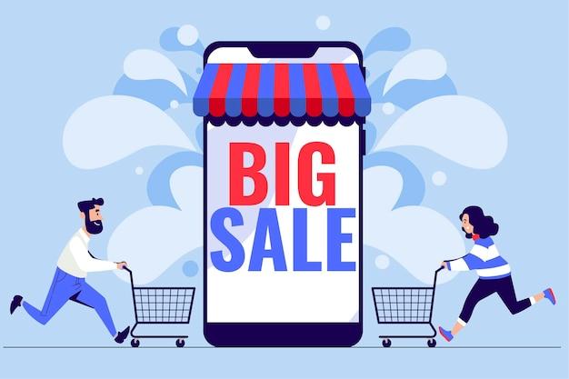 Grande concetto di vendita con smartphone