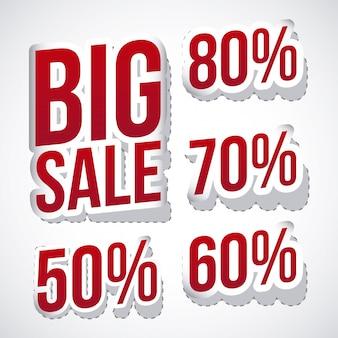 Grandi icone di vendita sopra illustrazione vettoriale sfondo grigio