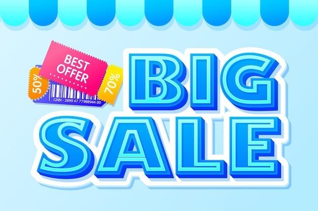 Grande scritta di vendita con i migliori coupon di offerta in vendita e sconti discount