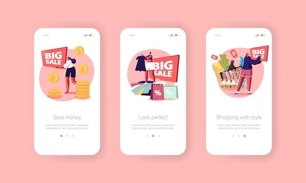 Modello di schermo a bordo della pagina dell'app mobile di grande vendita