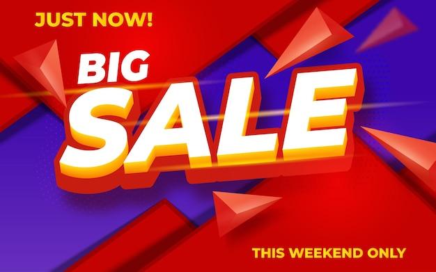 Modello di progettazione di banner moderno grande vendita su colore rosso