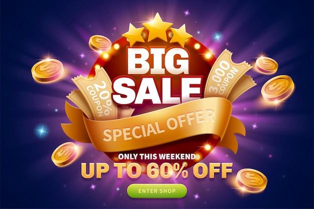 Grandi annunci pop-up di vendita con coupon e monete d'oro vicino alla lavagna luminosa rotonda per la pubblicità