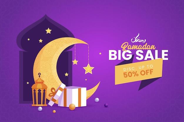 Grande vendita ramadan kareem banner simbolo islamico con elegante falce di luna, moschea e lanterna.