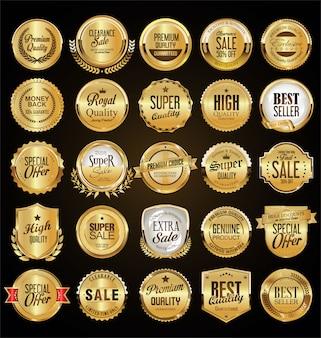 Collezione di etichette e distintivi d'oro retrò grande vendita