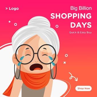 Progettazione di banner di giorni di shopping grande vendita con vecchia signora che piange