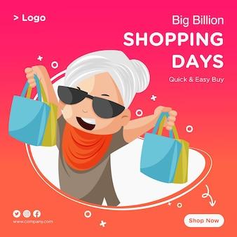 Progettazione dell'insegna di giorni di shopping di grande vendita con vecchia signora che tiene i sacchetti della spesa nelle mani