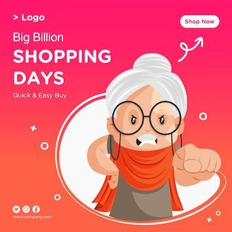 Progettazione di banner di giorni di shopping di grande vendita con vecchia signora che punta il dito