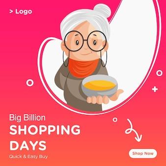 Progettazione di banner di giorni di shopping di grande vendita con vecchia signora che mostra la ciotola dei colori
