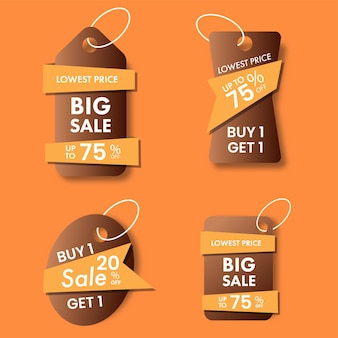 Grande raccolta di tag di vendita con diverse offerte di sconto su sfondo arancione.