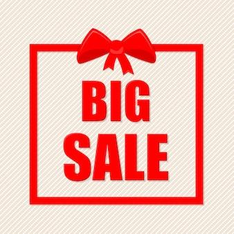 Testo di grande vendita con cornice rossa e fiocco regalo