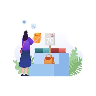 Grande vendita con borsa della holding della ragazza del personaggio