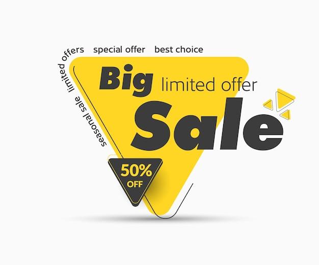Grande vendita etichetta gialla con sconto di vendita del 50%. illustrazione moderna dell'autoadesivo di vettore. sfondo isolato. modello di banner