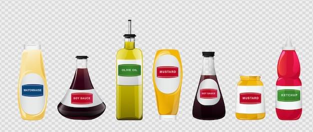 Grande salsa in set di bottiglie. salse di soia, olio d'oliva, senape, ketchup e maionese. elementi di condimento per il food design.