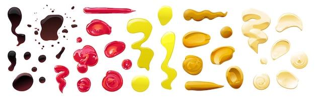 Set grandi pozzanghere e spruzzi di salsa di soia, olio d'oliva, senape, ketchup e salse di maionese