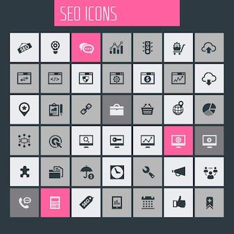 Grande set di icone seo, collezione di icone piatte alla moda