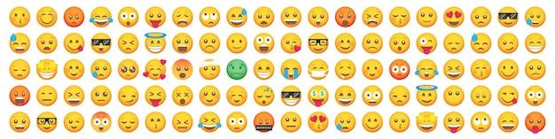 Grande set di 100 icone di sorriso di emoticon. insieme di emoji del fumetto.