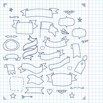 Grande set di 38 diversi elementi doodle