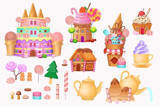Grande insieme. città andy con castello di torta, ospita torte, gelati, dolci, lecca-lecca e biscotti.