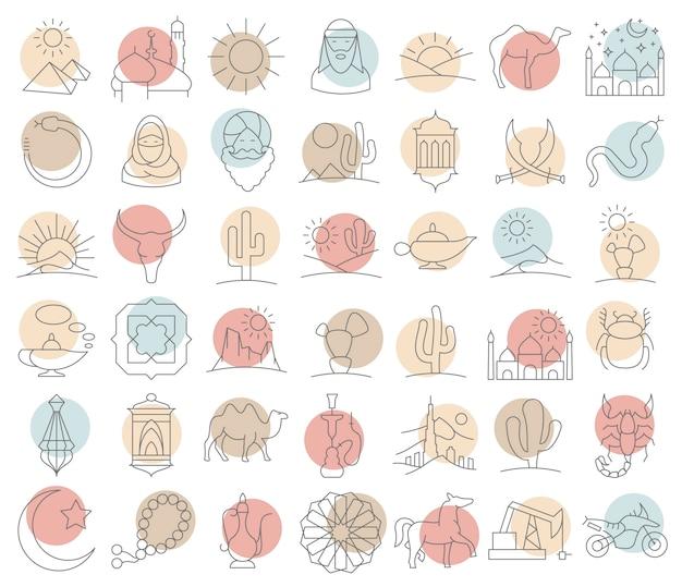 Grande set di icone arabe e deserte in stile lineare.