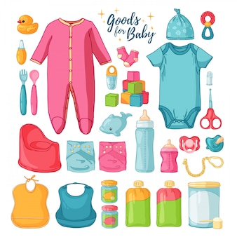 Grandi cose per bambini. insieme di cose per l'infanzia. icone isolate di articoli per neonati per neonati. abbigliamento, giocattoli, accessori per l'igiene, alimenti per neonati.