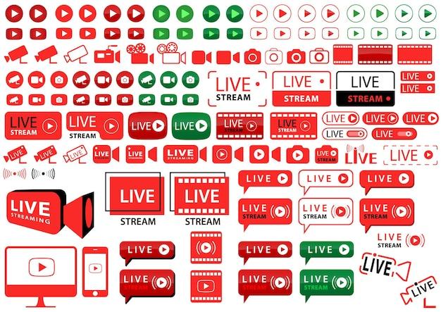 Grande set di pulsanti e icone per la trasmissione su internet
