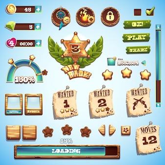 Grande insieme di elementi in stile cartone animato per la progettazione dell'interfaccia nel gioco wild west