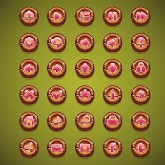 Grande set di pulsanti in legno dei cartoni animati per l'interfaccia utente di una foresta magica di gioco per computer