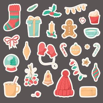 Grande set di icone isolate di natale su uno sfondo scuro. simboli di vacanza invernale. decorazione del nuovo anno