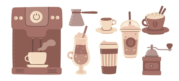 Grande set di caffettiera, tazza, vetro, macinino da caffè intorno all'uomo con una tazza di caffè in stile artistico sullo sfondo. illustrazione moderna di vettore nella progettazione piana.