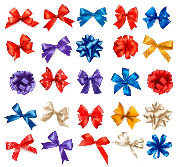 Grande set di fiocchi regalo colorati con nastri. .