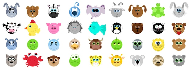 Grande insieme di diversi animali in stile cartone animato. animali domestici, selvatici. animali della fattoria e dello zoo. illustrazione vettoriale in stile cartone animato.