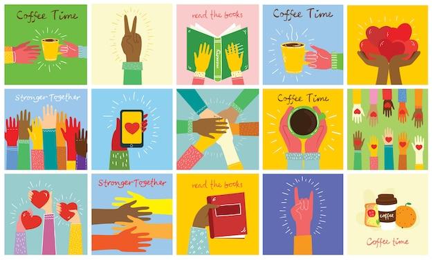 Grande set di illustrazioni di mani diverse. forte insieme molte mani in alto. mano con libro. poster di tempo del caffè con la tazza. team building. mani che tengono i cuori. caffè, hamburger per colazione.