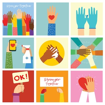 Grande set di illustrazioni di mani diverse. forti insieme molte mani in alto. mano con il libro. lavarsi le mani. team building. mani che tengono il cuore.