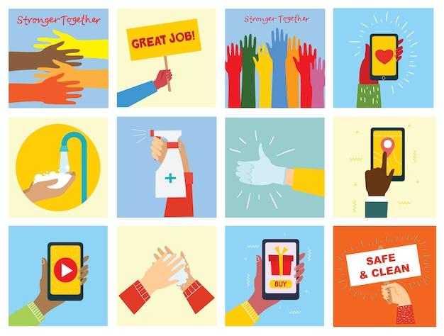 Grande set di illustrazioni di mani diverse.