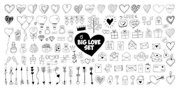 Grandi set di elementi vettoriali doodle per biglietti di san valentino, poster, confezioni e design. cuore disegnato a mano, isolato su sfondo bianco. forma geometrica e simbolo.