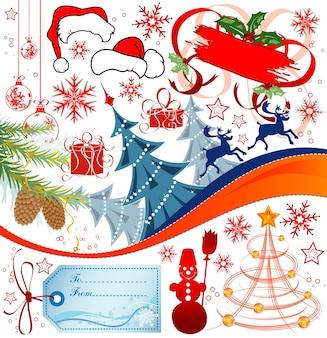 Grandi elementi impostati per il design natalizio, illustrazione vettoriale