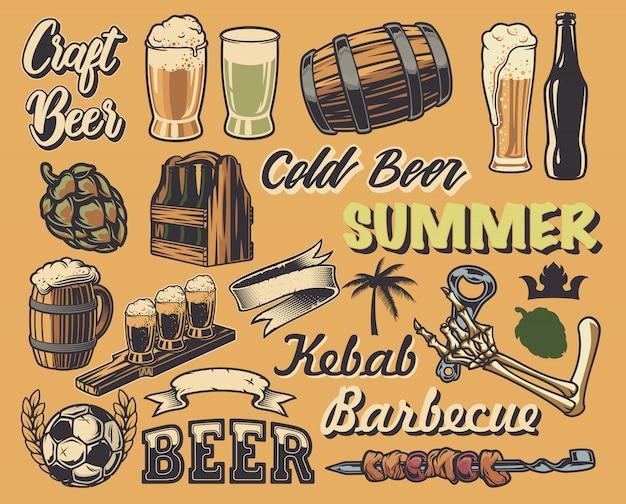 Grande insieme di elementi per la progettazione di poster vintage, loghi (birra, caffè). tutti gli articoli sono in gruppi separati.