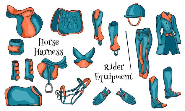 Grande set di equipaggiamento per il cavaliere e munizioni per l'illustrazione del cavallo in cartone animato. sella, coperta, frusta, abbigliamento, sottosella, protezione. collezione per il design e la decorazione.
