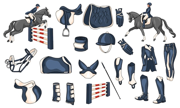 Grande set di attrezzature per il cavaliere e munizioni per il cavaliere a cavallo illustrazione in stile cartone animato. sella, coperta, frusta, abbigliamento, sottosella, protezione.